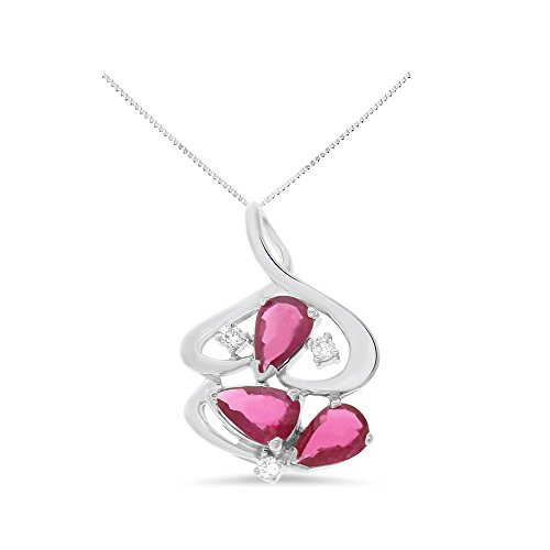18k Ruby Necklace (1.11CTW 18K White Gold Genuine Natural Ruby and Diamond Pendant With Square Box Chain Necklace)