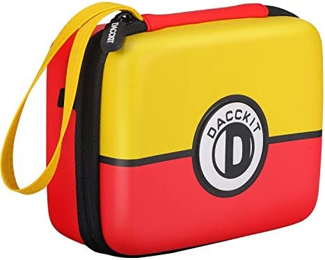 D DACCKIT Carrying Case for Pokemon Trading Cards, Fits Up to 400 Cards, Card Holder with Hand Strap & Carabiner(Red and Yellow)