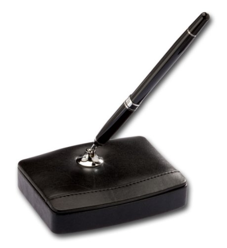 Dacasso Black Leather Single Pen Stand with Silver Trim