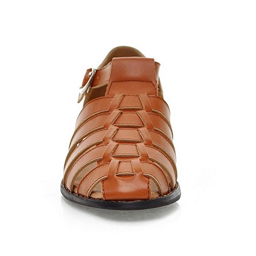AgooLar Women's Round Closed Toe Buckle PU Solid Low-heels Sandals Brown ryISayF