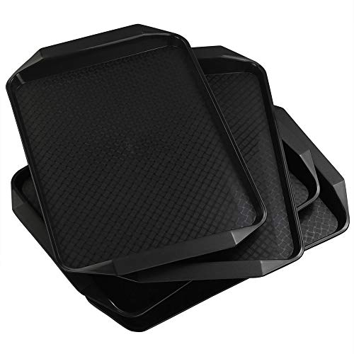 Tray Black Rectangular (Vababa 4-Pack Black Plastic Fast Food Serving Trays, 16.8-INCH x 12-INCH)