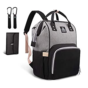 Hafmall Changing Bag Backpack Waterproof Travel Baby Bag, Stylish Large Capacity Nappy Backpack with Changing Mat and…