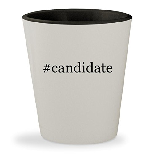 #candidate - Hashtag White Outer & Black Inner Ceramic 1.5oz Shot Glass