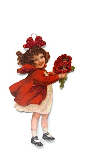 Valentine's Day Card Ornament Decoration Victorian Red Flower Love Girl Handmade Gift