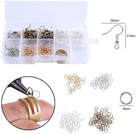 Leather Earring Making Kit,140pcs Earring Hooks,140pcs Jump Rings,20pcs Faux Leather Sheets,Ring,Pliers,Hole Punch and Stencils for DIY Jewelry Earrings Craft Making Supplies