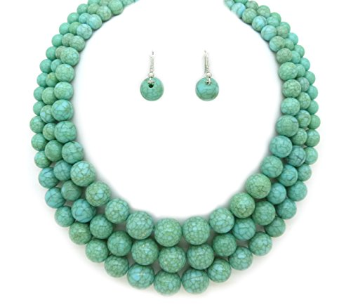 Fashion 21 Women's Three Multi-Strand Simulated Pearl Statement Necklace and Earrings Set (Turquoise)