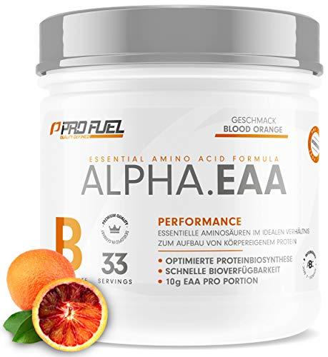 ProFuel ALPHA EAA Pulver zum Muskelaufbau & für Diät | Enthält 8 essentielle Aminosäuren | Vegan EAAs Aminosäuren Pulver MADE IN GERMANY | Optimale Wertigkeit | Leckerer Geschmack (Blutorange)