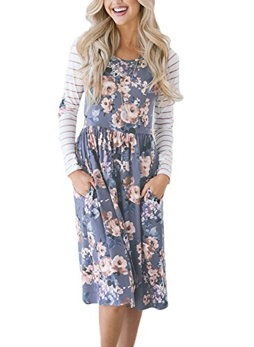 HOTAPEI Womens Fall Striped Long Sleeve Floral Print Casual Loose Swing Pleated Modest Tunic Shift T-Shirt Dress with Pockets Knee Length Empire Waisted Skater Fit and Flare Midi Dress Medium