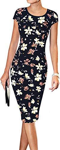 (LunaJany Women's Floral Print Sexy Wear to Work Office Career Sheath Midi Dress XL Black Pink)