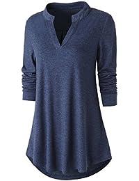 Womens Tunic Top, Women Casual Long Sleeve V Neck High Low Blouse Shirt Tops