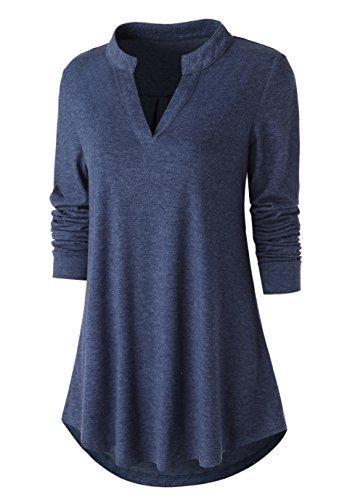 Zattcas Womens Tunic Top, Women Casual Long Sleeve V Neck High Low Blouse Shirt Tops