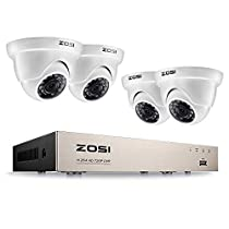 ZOSI 8CH 720P HD-TVI DVR with 4 720P CCTV Camera Systems Outdoor Weatherproof Dome Cameras Home Security System No Hard Drive(White)