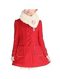 FREE FISHER Little Girl Fashion Woolen Coat Warm Bowknot Jacket Outerwear