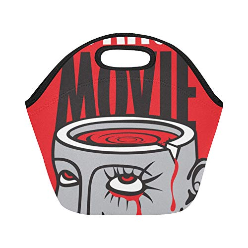 Insulated Neoprene Lunch Bag Banner Festival Horror Movie Severed Large Size Reusable Thermal Thick Lunch Tote Bags Lunch Boxes For Outdoor Work Office School]()
