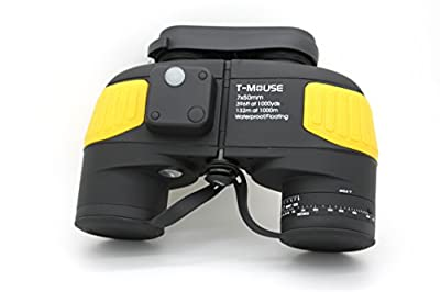 Tmouse Marine 7x50 Waterproof Floating Binocular,Internal Rangefinder,Yellow
