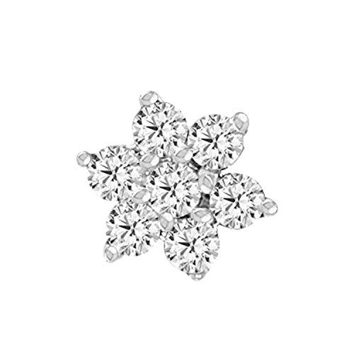 EternalDia Diamond Flower Nose Piercing Pin Screw Ring Stud 4.25mm 14k Yellow Gold 19 Guage (GHColor/I1 I2Clarity)