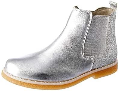 Clarks Girls' Chelsea Boots, Silver Glitter E, 1 AU