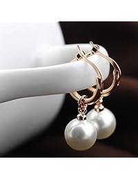 18 ct Rose Gold Plated Hoop Earrings Swarovski Crystal White Simulated Pearls