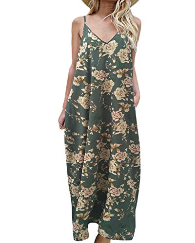 kenoce Women's V Neck Print Spaghetti Strap Long Maxi Summer Beach Dress Sundress with Pockets Green L