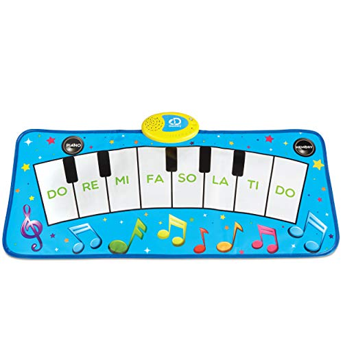Discovery Kids Play Piano Keyboard Music Mat w/ Built-in Children's Songs and Memory Playback, Fold Up/Rollup Floor Mat w/ Oversized Keys for Hands, Feet, and Dancing; Interactive & Educational Toy