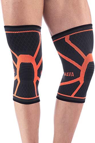 (Mava Sports Knee Compression Sleeve Support, Pair (Orange, Large))