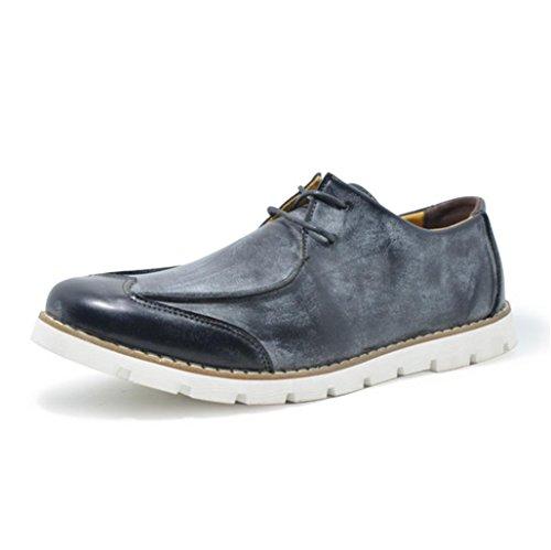 Heart&M retro Sport de los hombres zapatos de cordones cuero del dedo del pie redondo Black