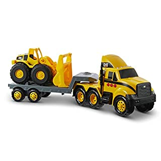 Cat Construction Heavy Mover Toy Semi Truck and Trailer with Lights & Sounds