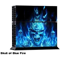Blue Fire Skull Skin Sticker For PlayStation 4 PS4 Console with 2Pcs Controller Cover Decals