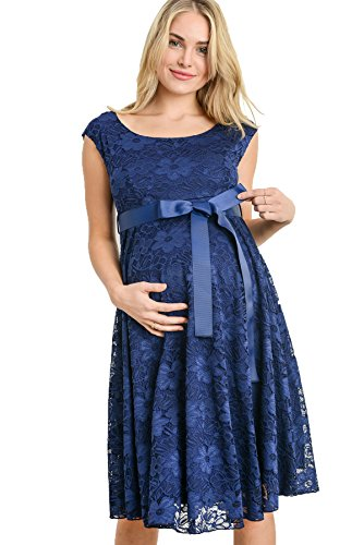Hello Miz Floral Lace Baby Shower Party Cocktail Dress with Satin Waist Maternity Dress (Medium, Navy/Navy)