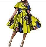 Vska Womens Big Pendulum African Print Batik Dashiki Pleated Party Dress 14 5XL