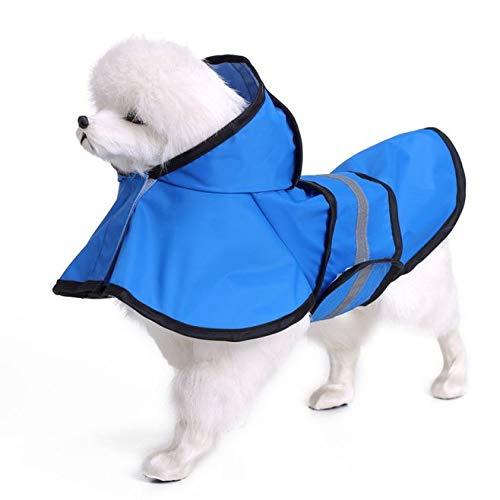 "WarmHeaven Adjustable Dog Raincoat Pet Durable Nylon Waterproof Rain Jacket for Extra Small XS XXS Puppies Blue Length:10.2"" Chest:14.2"" Neck:9.4"" Girl Boy"