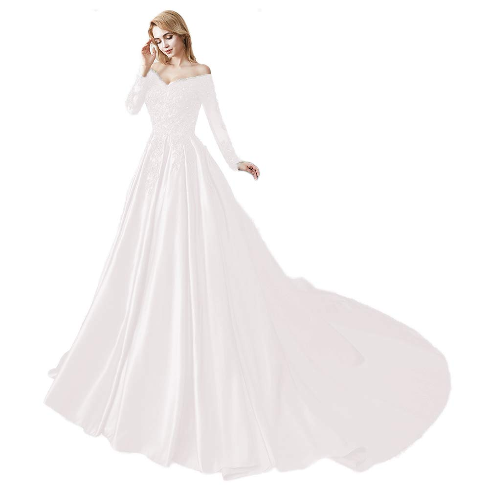 Ivory Miao Duo Women's Long Sleeves V Neck Beaded Wedding Prom Dresses Off Shoulder Formal Ball Gown 86pM