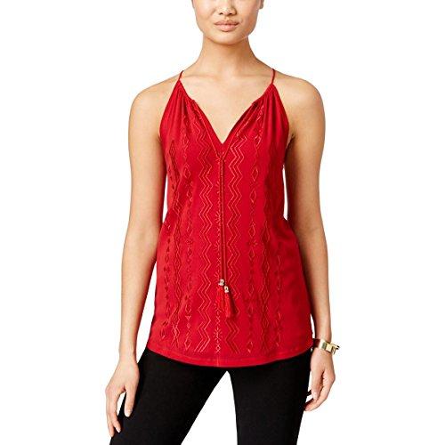INC Womens Petites Embroidered V-Neck Halter Top Red PS (V-neck Top Embroidered Petite)