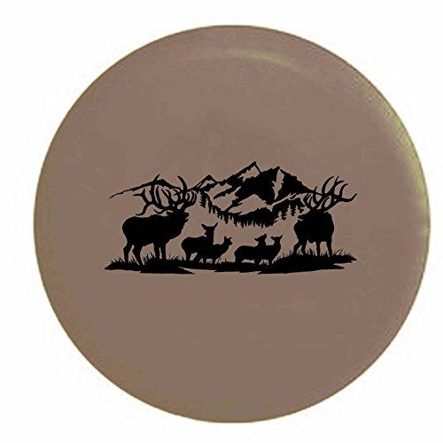 Pike Mountain Range Deer Elk Buck Doe Rack Hunting Fishing Outdoors Trailer RV Spare Tire Cover OEM Vinyl Tan 27.5 in