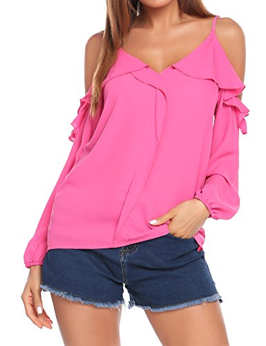 Women Sexy Long Sleeve Off shoulder Solid Casual Blouse (Pink) - 9
