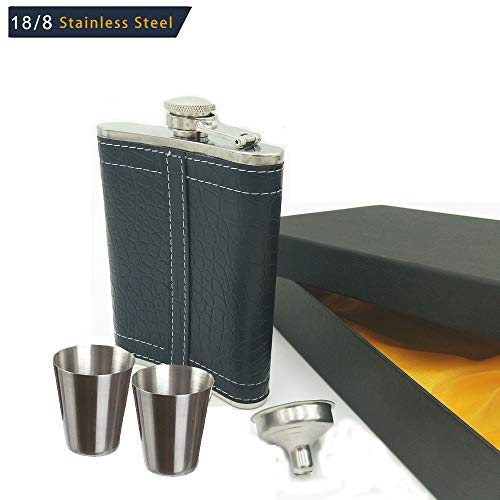 8oz Hip Flask with 1 Funnel, 2 short glass and Gift Box for Liquor - Premium 304 Stainless Steel - 100% Leak Proof Hip Flask for women and Men - Father's Day, Birthday (Black Leather Wrapped Cover)