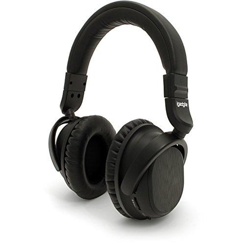 igadgitz NC-600 Bluetooth v4.1 Drahtlose Active Noise Cancelling Kopfhörer Headphones (Musik-Streaming und Mikrofon für Freisprechfunktion) mit Tasche & Adapter - Schwarz