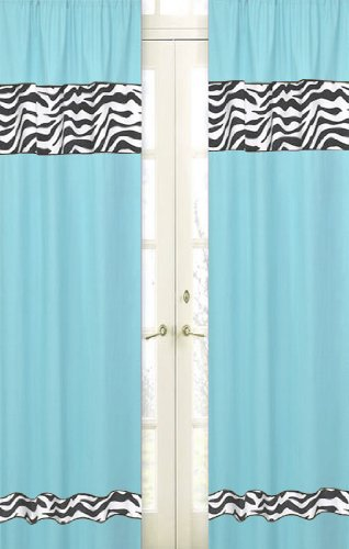 Turquoise Funky Zebra Zebra Window Treatment Panels - Set of 2