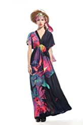 Ladies Cape Sleeve Midi Dress Womens Bodycon Evening Scoop Neck Sun Dresses 8-22