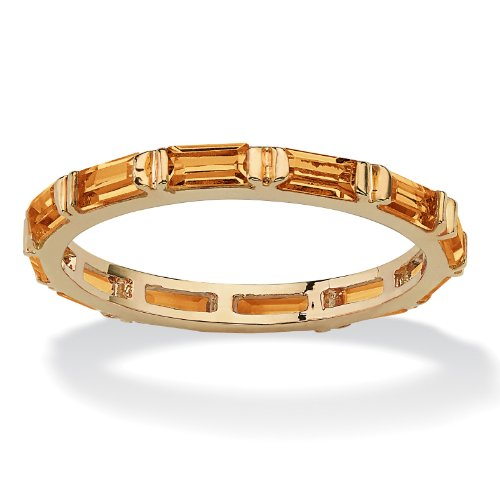 Baguette-Cut Simulated Birthstone 14k Gold-Plated Eternity Ring - November - Simulated Citrine - Citrine Baguette