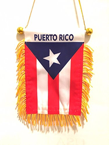 (BUNFIREs Puerto Rico Small 4 X 6 Inch Mini Flag Banner Rearview Mirror Boricua Puerto Rican flag Fringed Window Hanging)