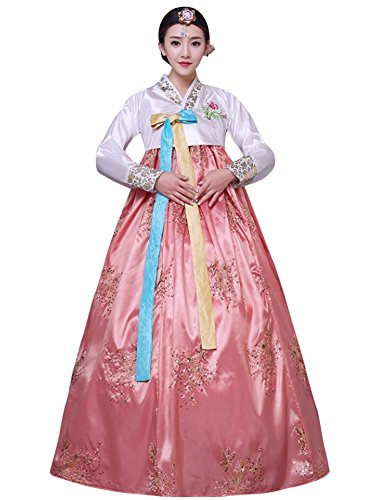 CRB Fashion Womens Korean Traditional Hanbok Top Dress Costume with Headpiece Set Outfit (Medium, Pink) -