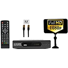Digital DTV Converter Box + Flat Indoor Antenna for Viewing & Recording Full HD Digital Channels FREE (Instant & Scheduled Recording, 1080P HDTV, HDMI Output, 7 Day Program Guide) w/ RF Cable