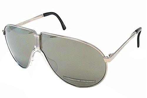 Porsche Designs Sunglasses P8480 B Titanium Olive with Silver Mirror 66 6 - Designs Porsche Sunglasses