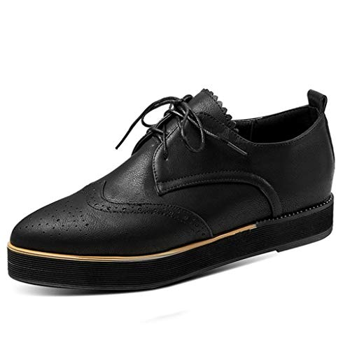 - Wingdeck Oxford Shoe Fashion Sneaker,Londony Womens Oxford Shoes Leather Lace up Dress Shoes Breathable Flat Sneakers Black