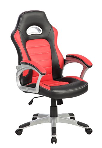 eurosports Gaming Chair ES-9167-RB Finish Line White High-back PU Racing Style Chair UNITED INDUSTRIES GROUP LLC