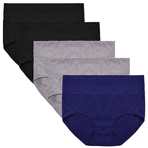 UMMISS Women's Underwear,Soft Cotton Briefs,Comfort Breathable Soft Underpants 5 Pack L (Best Fabric For Women's Underwear)