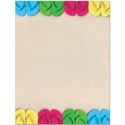 Flip Flop Border - Bright Flip Flops Border Summer Laser & Inkjet Computer Printer Paper