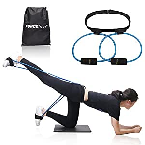 Forcefree+ Booty Bands System - Workout Resistance Belt, Exercise Resistance Bands for Bikini Butt and Lower Body Muscles Workout with Carry Bag & Exercise Guide (Blue-40lb)