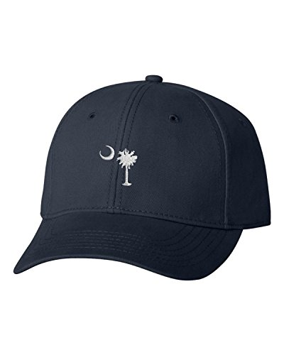 South Carolina Baseball Hats - Adjustable Navy Adult South Carolina Flag Embroidered Dad Hat Structured Cap